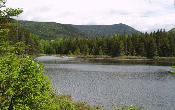 Ammonoosuc Lake and mountains (photo by Webmaster)