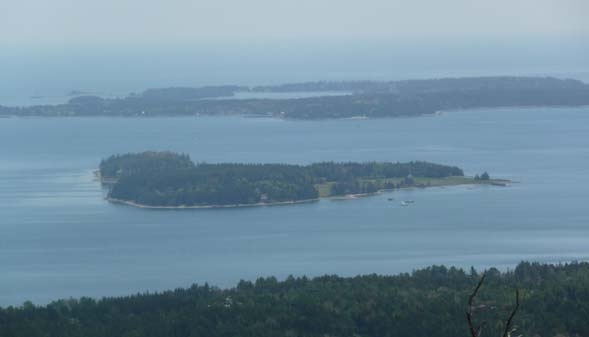 Close-up of Greening Island (foreground) and Great Cranberry Island (background) from the summit of Beech Mountain (photo by Chip Lary)