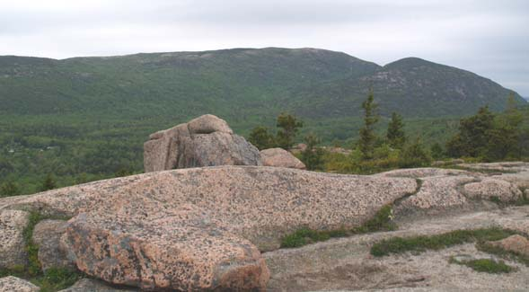 Cadillac Mtn.'s long ridge line with Dorr Mtn. to the right, as seen from Gorham Mtn. (photo by Webmaster)