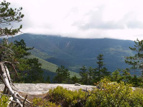 Mt. Moosilauke with its summit in the clouds, from the eastern ledges (photo by Webmaster)