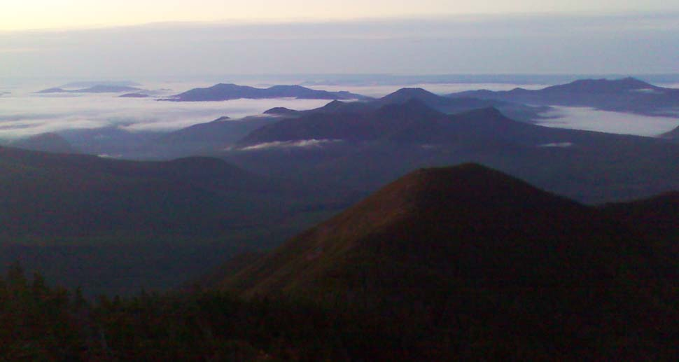 View from Mount Carrigain's fire tower at dawn (photo by Bill Mahony)
