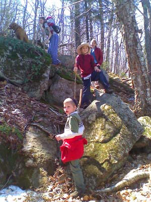 The 4 kids and the dog on the trail (photo by Bill Mahony)