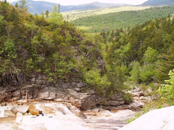 Thoreau Falls with Mount Bond (left) and Mount Guyot (center) in the background (photo by Webmaster)