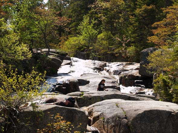 Cascades and ledges at the Whitewall Brook Outlook (photo by Webmaster)