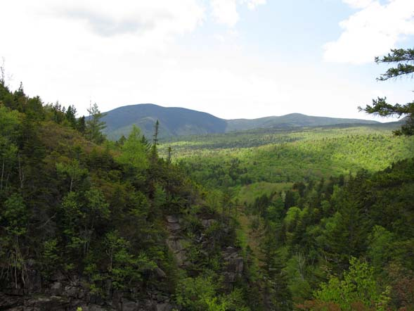 Mount Bond (left) and Mount Guyot (center) from Thoreau Falls (photo by Mark Malnati)