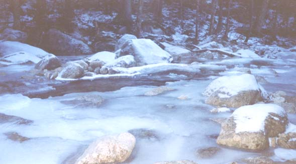 Frozen brook (photo by Webmaster)