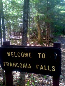 Trail sign for Franconia Falls (photo by Bill Mahony)