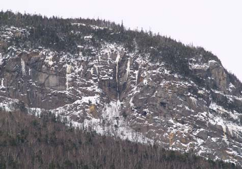 View of icy ledges on East Osceola as seen from lower Greely Pond (photo by Webmaster)