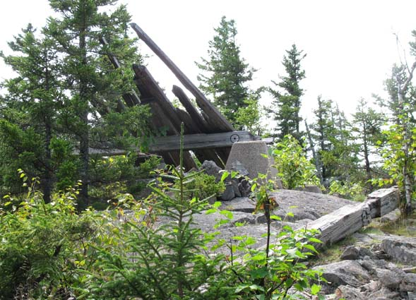 Remains of the old fire tower on the summit (photo by Karl Searl)