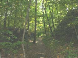Mini-cliffs bordering the Rail Trail (photo by Webmaster)