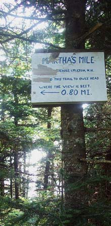Trail sign for Martha's Mile (photo by Alex Clogston)