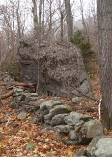 Stone wall and boulder along Parker Trail (photo by Webmaster)
