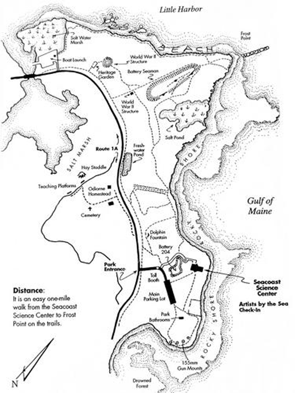 Trail map of hiking trails and features of Odiorne Point State Park (map courtesy of Odiorne Point State Park)