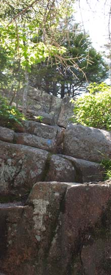 Rock scrambles up Pemetic Mountain Northeast Trail (photo by Webmaster)