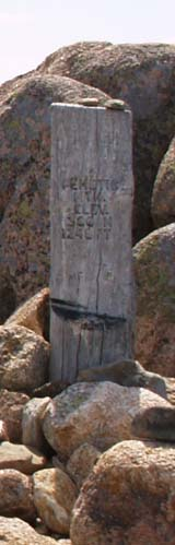 Trail sign at the summit of Pemetic Mountain (photo by Webmaster)