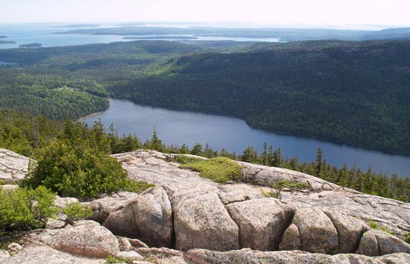Jordan Pond and beyond as seen from Pemetic Mtn. (photo by Webmaster)