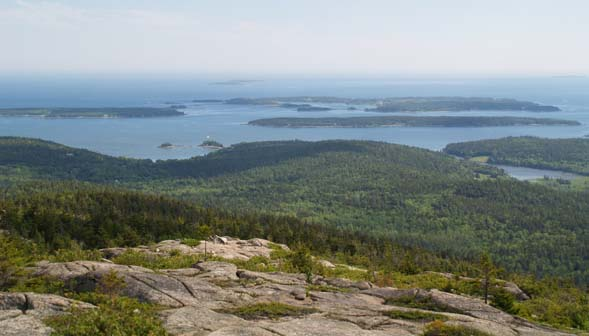 View of ocean and islands from Pemetic Mountain (photo by Webmaster)