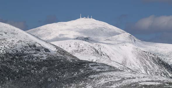 View of Mount Washington and its summit structures from the ledges of Mount Pierce (photo by Webmaster)