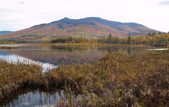 Cherry Pond and Cherry Mountain from the railroad tracks (photo by Webmaster)