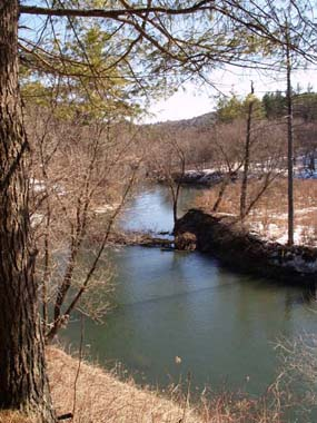 Ottauquechee River, downstream from the base of the gorge with island in middle(photo by Webmaster)