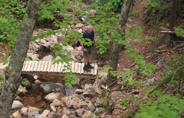Mark below Waterfall Bridge on Hadlock Brook Trail (photo by Deb Hann)