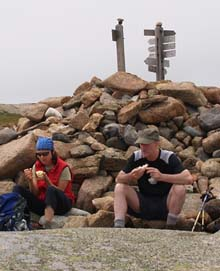 Diane and Mark at the summit cairn on Sargent Mountain (photo by Webmaster)