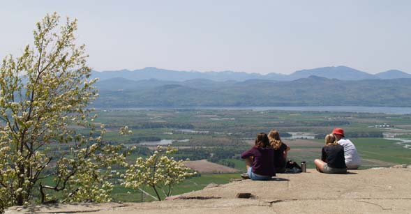 Views of the Champlain Valley from Snake Mountain's summit (photo by Webmaster)