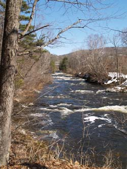 Looking upstream from the first bench (photo by Webmaster)