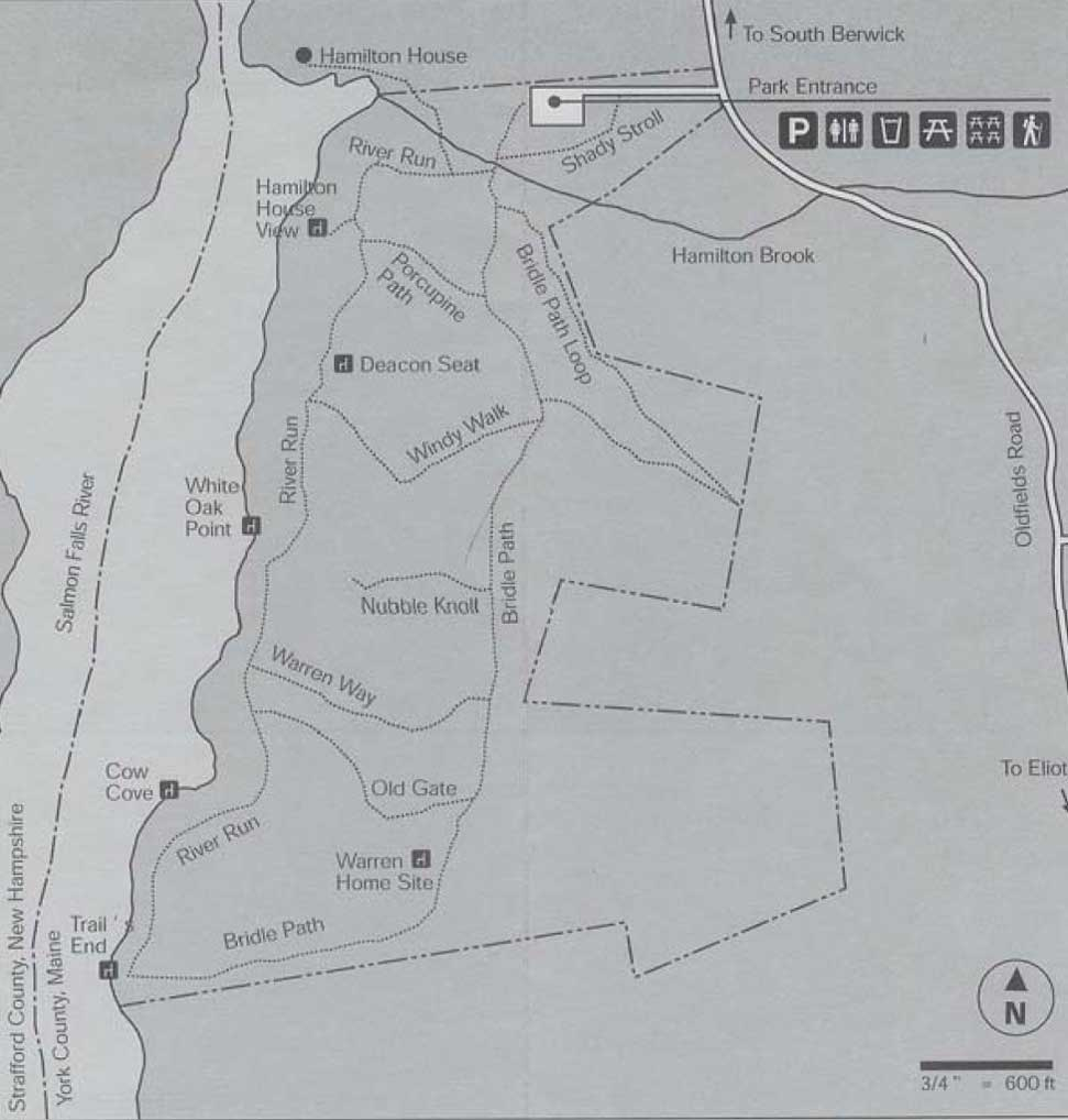 Trail map of Vaughan Woods Memorial State Park (map courtesy of Vaughan Woods Memorial State Park)