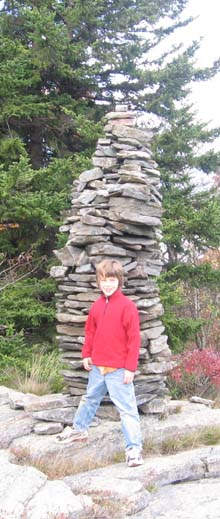 Little hiker and tall cairn (photo by Dennis Marchand)