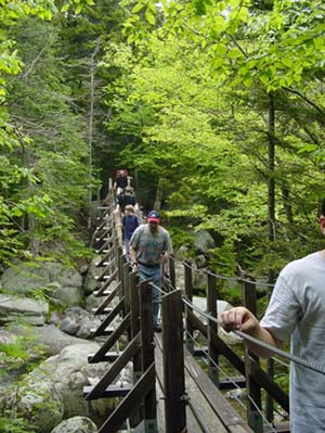 Suspension bridge over West Branch in the Great Gulf Wilderness (photo by Jon Salisbury & Steve Fiedler)