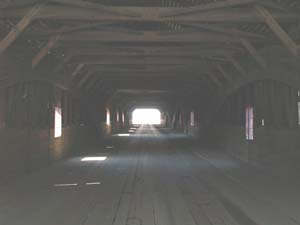 Interior of the long Bath covered bridge (photo by Webmaster)