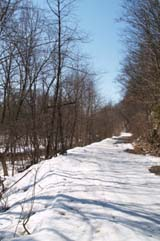 Spring photo of the snowmobile trail along Ammonoosuc River (photo by Webmaster)