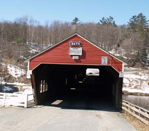 Spring photo of Bath covered bridge (photo by Webmaster)