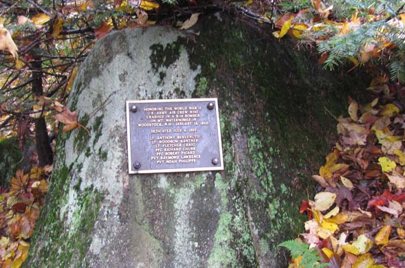 Plaque at the B18 Bomber crash site (photo by Karl Searl)