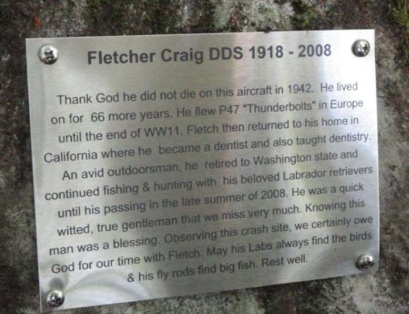 New plaque honoring Fletcher Craig (photo by Jim Gonia)