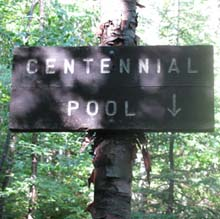 Trail sign for Centennial Pool (photo by Karl Searl)