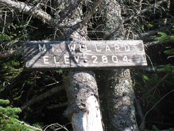 Mount Willard elevation sign at the view ledges (photo by Karl Searl)