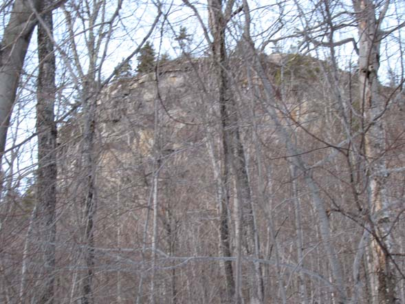 View of ledges from lower trail (photo by Karl Searl)