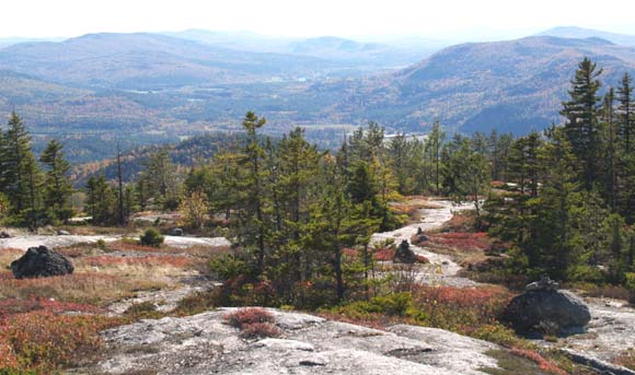 View from summit slabs.  That's the Androscoggin River running through the valley in the background. (photo by Webmaster)